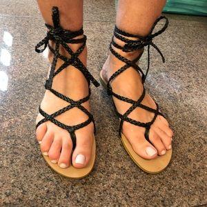 Colin Stuart black braided rope sandals